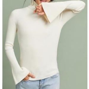 Moth Anthropologie ribbed bell sleeve turtle neck